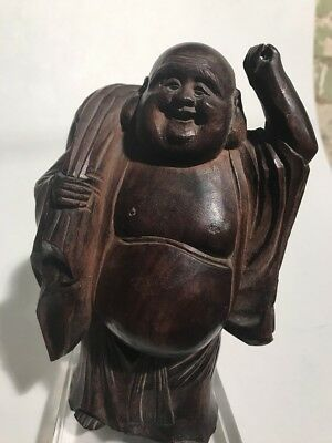 """Lovely Old 8""""  Vintage Solid Wood Hand Carved  Buddha Statue"""