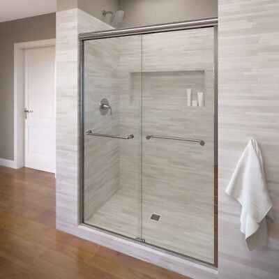 "Basco Infinity 59"" x 70"" Frameless Bypass Sliding Shower Door Silver Clear"