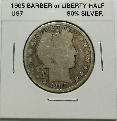 1905  BARBER OR LIBERTY HALF DOLLAR - 90% SILVER - Combined Shipping ~LOT U97