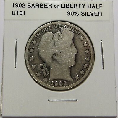 1902  BARBER OR LIBERTY HALF DOLLAR - 90% SILVER - Combined Shipping ~LOT U101
