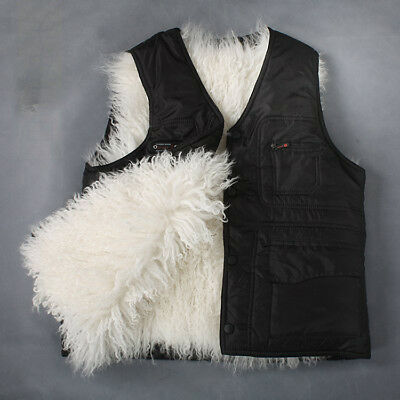 HOT Men's Genuine Fur Lining Casual Winter Warm Sleeveless Vest Waistcoat TOP