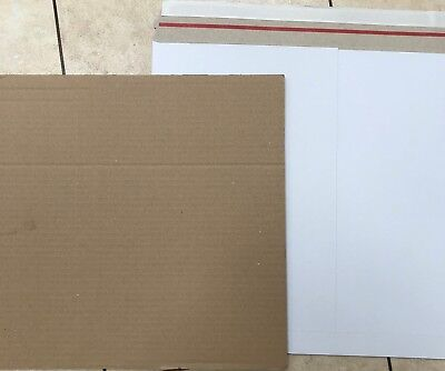 """12"""" Lp White Budget 350Gsm Peel Seal Record Mailers + Stiffeners 1,10,25,50,100"""