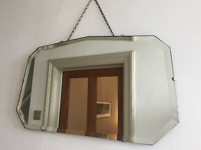Vintage Frameless Fan Wall Mirror Bevelled Edge 1940s Original Chain 55x33cm