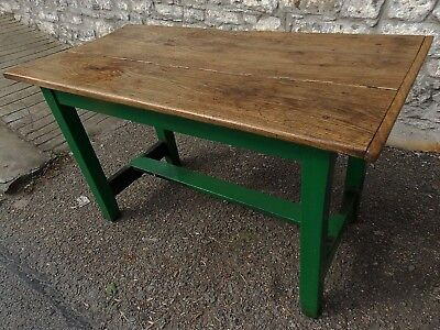 Antique solid 2 plank elm /ash kitchen table green paint refectory base Seats 4