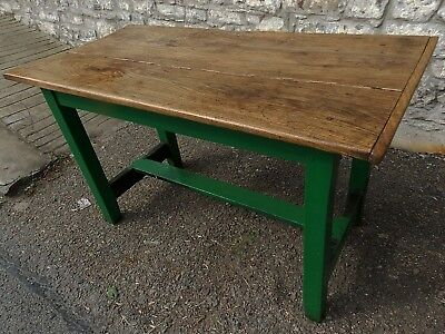 Antique solid 2 plank elm kitchen table green painted refectory base Seats 4