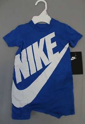 Nike Boy's Futura S/S Baby Romper Coverall SI4 Blue Nebula Size 3/6 Months NWT