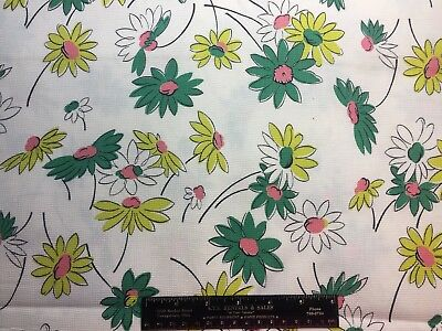 Vintage Cotton Fabric 50s60s CUTE Yellow Green Daisies Flower Power 35w 1yd