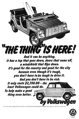 1973 Volkswagen VW - The Thing Is Here - Promotional Advertising Poster