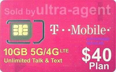 Preloaded T-Mobile SIM Card with Prepaid Plan $40 10GB 4G LTE * 30 Days *
