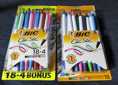 2 Packs BIC Clic Stic Fashion Retractable Pens Asst. Vibrant Ink Colors 40 Pens