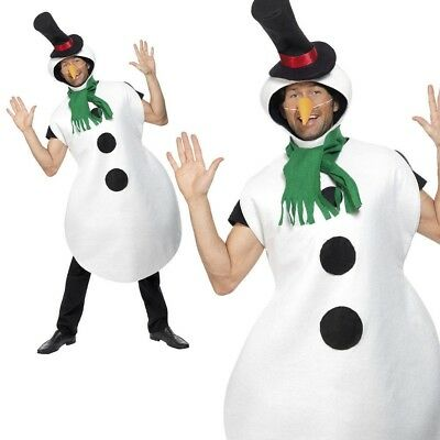 Adult Snowman Costume Christmas Mens Ladies Olaf Fancy Dress Xmas Outfit OS