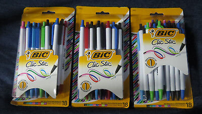3 Packs BIC Clic Stic Fashion Retractable Pens Asst. Vibrant Ink Colors 54 Pens