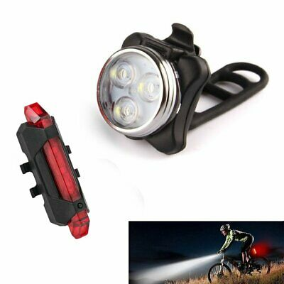 Bicycle Head Rear Tail Light Set USB Rechargeable LED Waterproof Cycling Lamp