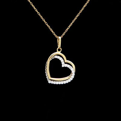 Double Heart Pendant 0.18ct.T.W. Created Diamond 14K Solid Yellow Gold Charm