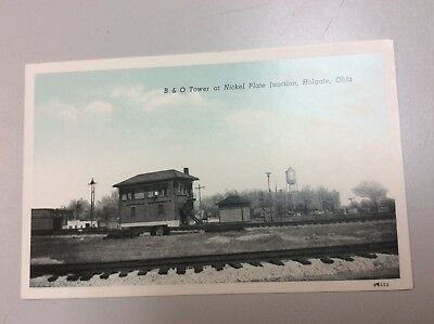 Postcard of B. and O. Tower at Nickel Plate Junction in Holgate, Ohio.