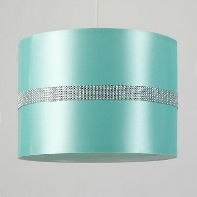 Large Modern Decorative Duck Egg Pale Blue and Silver Diamante Jewel Effect Poly