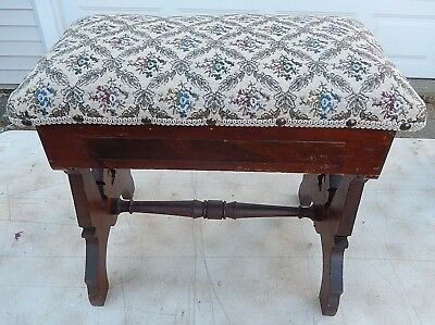 Antique 19th C Eastlake Victorian Fancy Foot Stool Rest Hinged Lid V.G.Condition