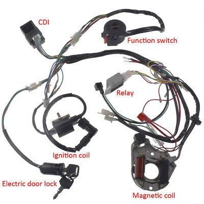 cdi wire harness assembly wiring kit for 50cc 70 90 110 125cc atv electric quad