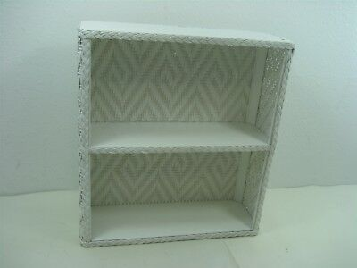 """Vintage White Wooden Wicker Two (2) Tiered Shelf Unit 16"""" Long 5"""" Wide 17"""" Tall"""