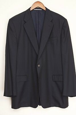 Hickey Freeman Mens Suit Jacket 46L Solid Navy Blue Loro Piana Wool Jacket Only