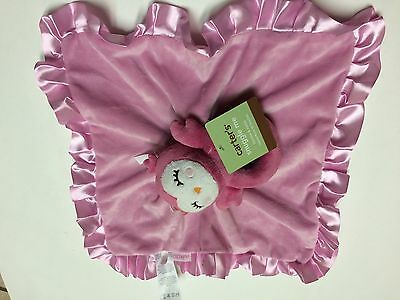 Carters Pink Owl Ring attached Rattle Ruffle Security Blanket Lovey Baby New Nwt