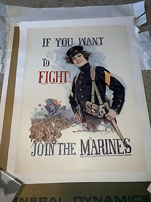 WWI Original Howard Chandler Christy If You Want To Fight Marines Poster