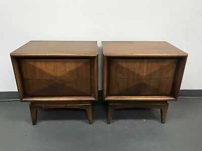 Pair Of Mid Century United Diamond Front Night Stands
