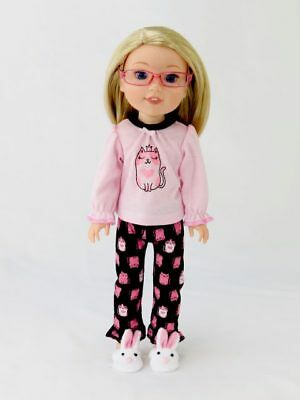 """Princess Kitty Pajama Pant Set Fits Wellie Wisher 14.5"""" American Girl Clothes"""
