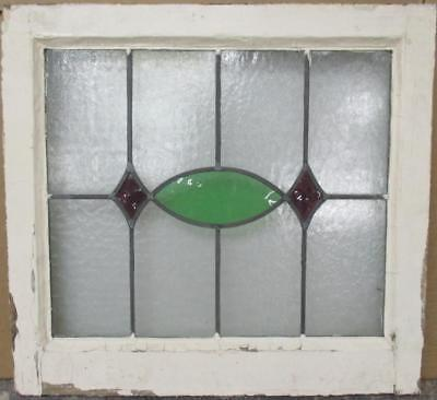 """OLD ENGLISH LEADED STAINED GLASS WINDOW Gorgeous Geometric 21.75"""" x 20.25"""""""