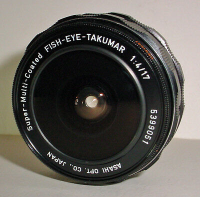 Vintage Asahi Camera Lens Takumar SMC Super-Multi-Coated Fish-Eye f4 17mm M42