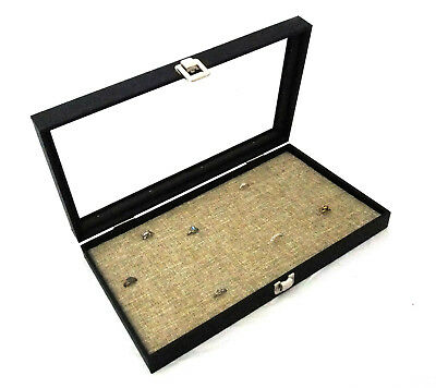 Glass Top Jewlery Display Case With Burlap 72 Ring Insert
