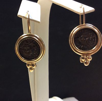 CLASSIC ANCIENT Greek Roman Coin GOLD EARRINGS
