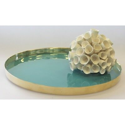 Brass Luxe Enamelled Tray - Teal