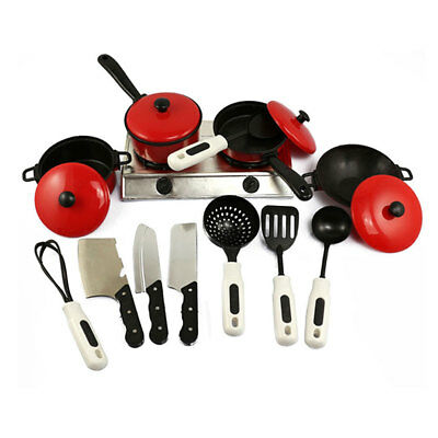 13PCS Kids Play Toy Cooking Food Kitchen Utensils Pans Pots Dishes Cookware