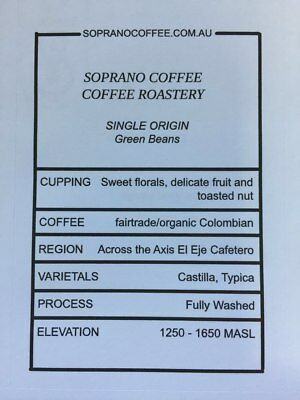 COLOMBIAN FAIRTRADE ORGANIC Raw Green Coffee Beans  | Soprano Coffee $21/kg f...