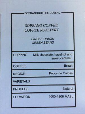 BRAZIL CALDAS ROYALE Raw green coffee beans | Soprano Coffee $21/kg for 2.5kg