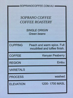 KENYAN PEABERRY raw green coffee beans | Soprano Coffee $21/kg for 2.5kg