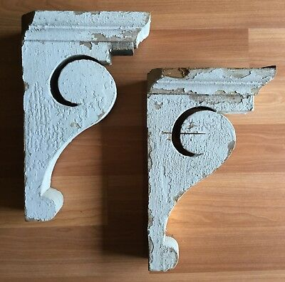Old Vtg Antique Architectural Salvage Corbel Wood Shelf Bracket White Pair