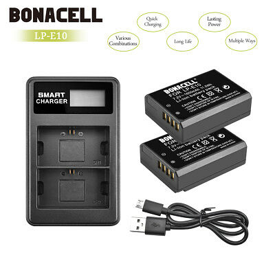 2pack LP-E10 Battery +LCD Dual Charger For Canon Rebel T3 T5 T6 EOS 1100D UB