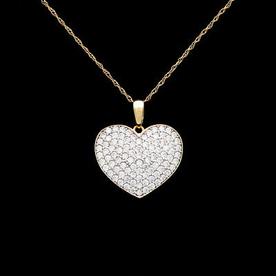 Heart Pendant Pave 0.50ct.T.W. Created Diamond 14K Solid Yellow Gold Charm