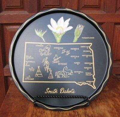 "Vtg South Dakota Metal Tray Souvenir 11"" Black Tray Pasque Flower Free Ship"