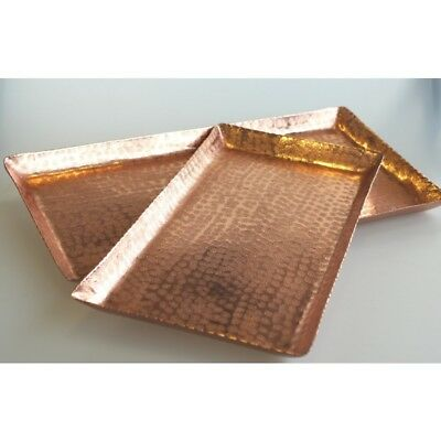 Beaten Rose Gold Rectangle Tray Small (20 x 40cm)