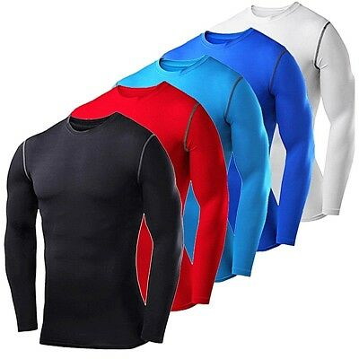 Mens Compression Shirt Long Sleeve Tops Gym Clothes Under Base Layer Sports Tee