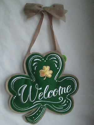 Felt Fabric Embroidered Welcome St. Patrick's Day Shamrock Wall Decor, New