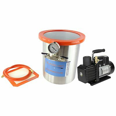 Best Value Vacs GlassVac 3 Gallon Tall Stainless Steel Vacuum Chamber and VE ...
