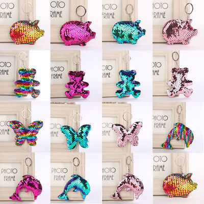 Pig Bear Butterfly Keychain Glitter Key Chain Gifts Car Bag Accessories Key Ring