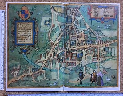 Old Antique Historic Map of Cambridge, UK: 1575 Braun & Hogenberg REPRINT 1500's