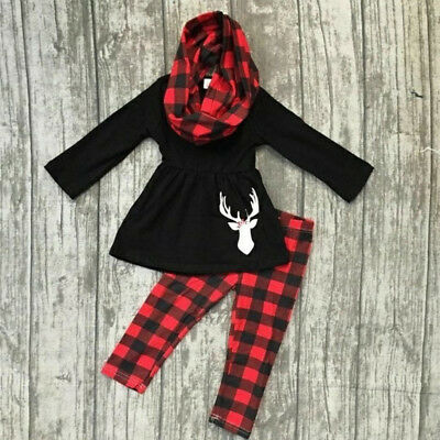 US Christmas Kids Newborn Baby Girl Tops Dress+Plaid Check Pants Outfits Clothes