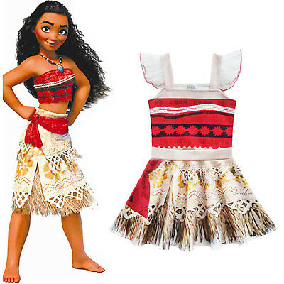 Girls Kids Princess Moana Movie Costume Dress Halloween Xmas Cosplay Outfit Sets