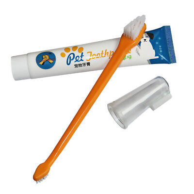 Pet Dog Cat Toothpaste Toothbrush Set Oral Care Hygiene Cleaning Tool